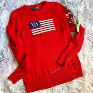 Lauren Ralph Lauren Crewneck American Flag Sweater